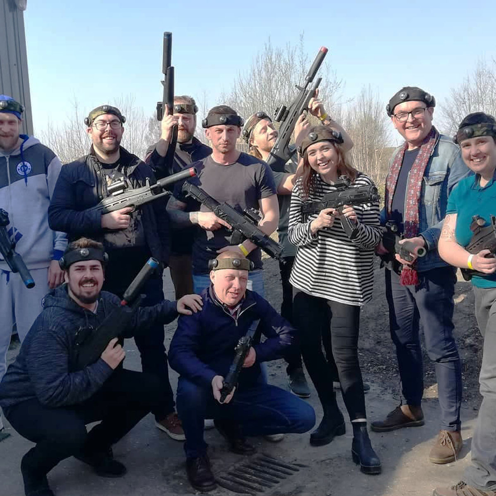 Outdoor laser tag in Riga for Stag Party
