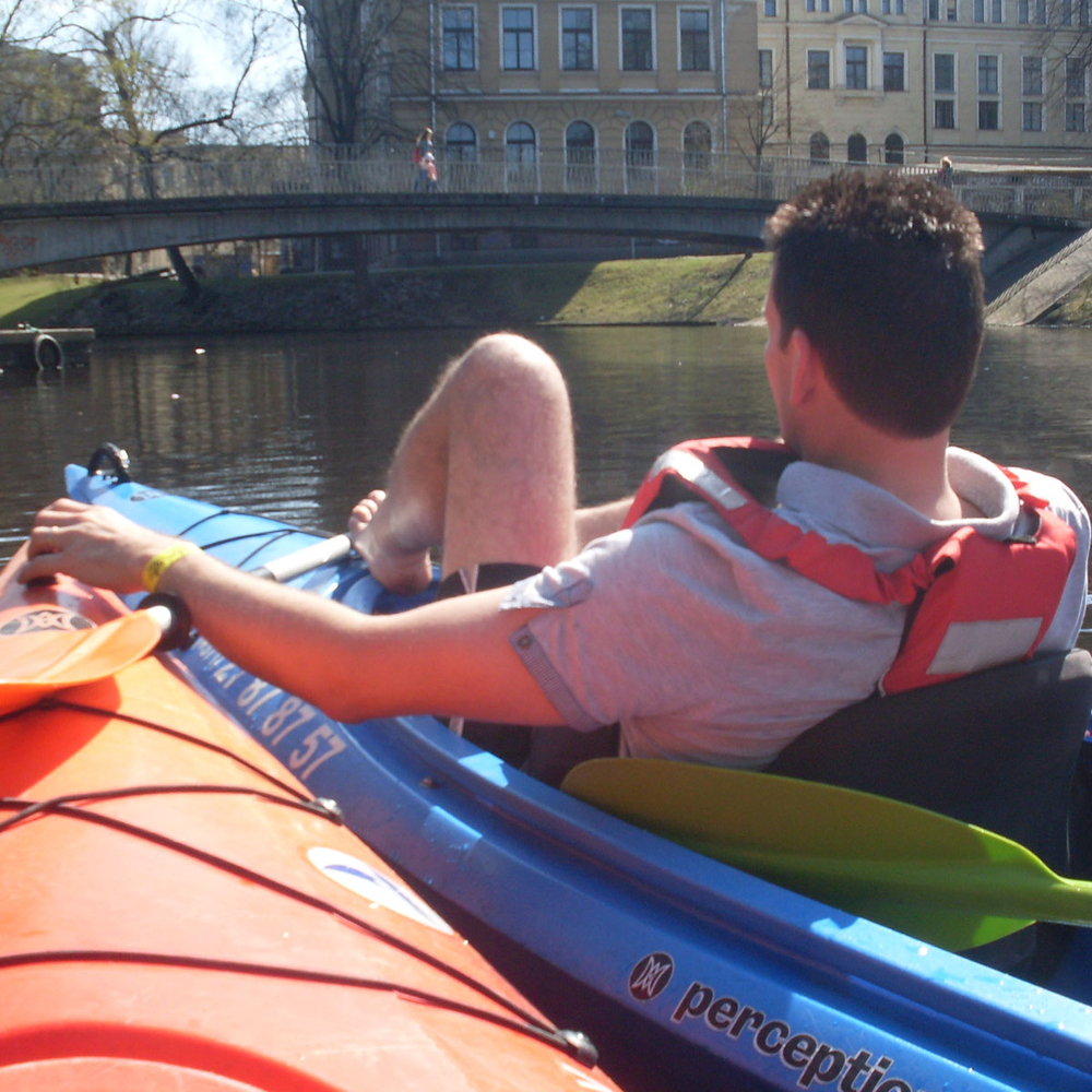 Canoe riding in Riga for Stag Party