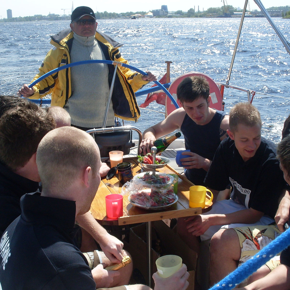 Stag yachting in Riga for Stag Party